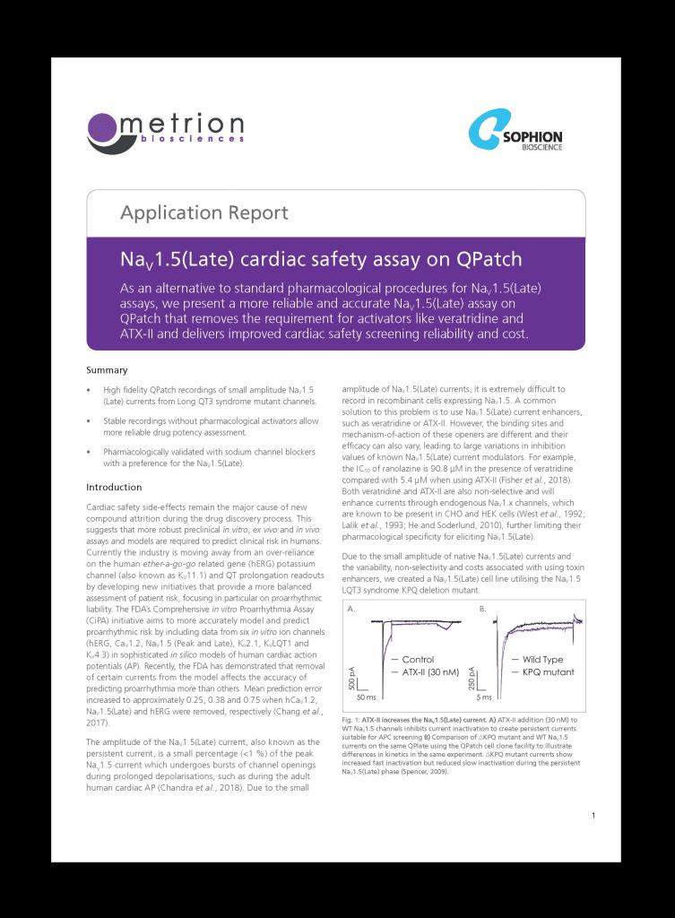 Application Report Nav1.5 Late Cardiac