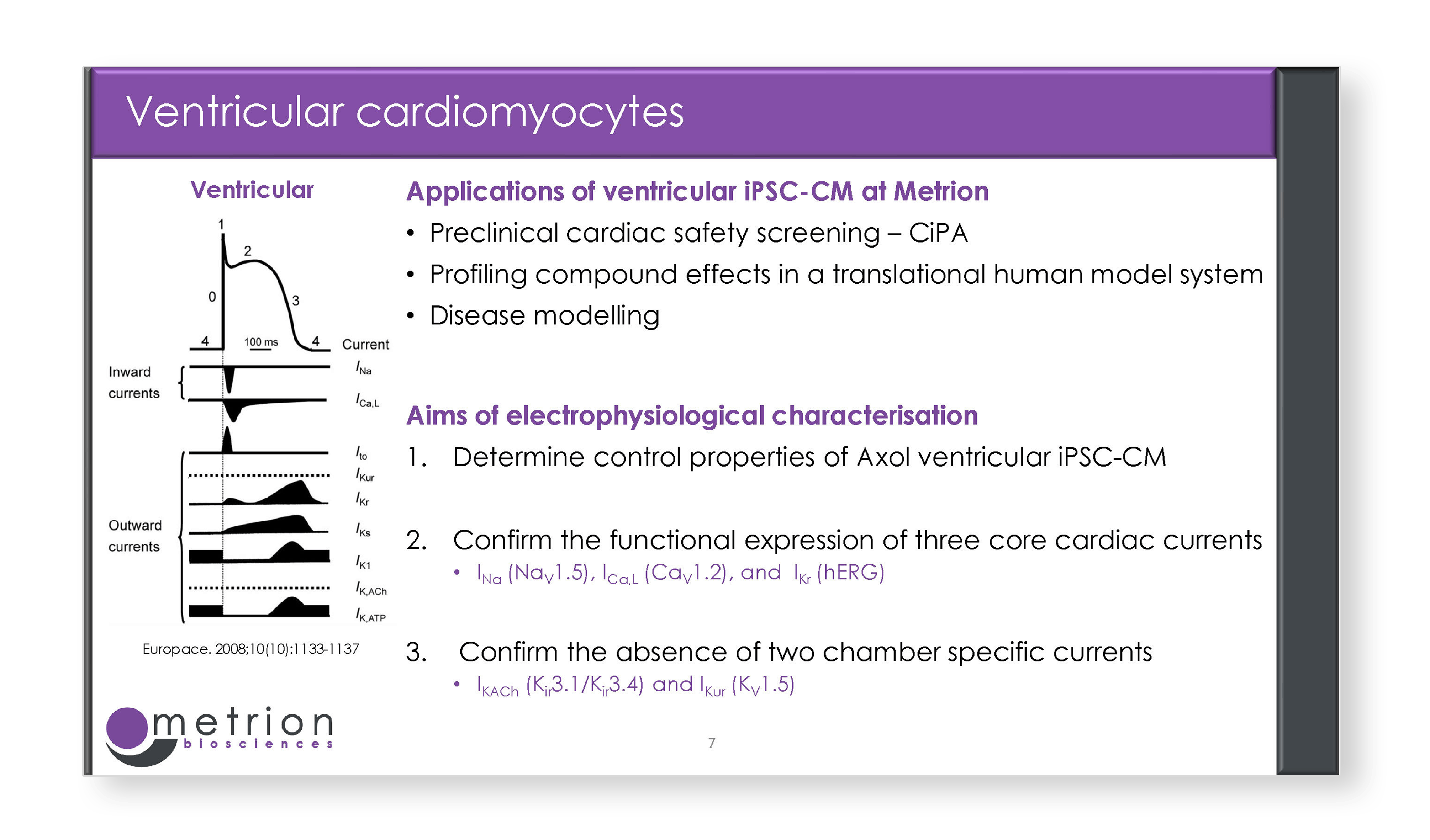Applications of ventricular iPSC CM at Metrion